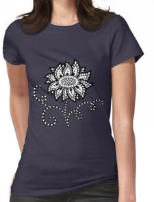 Abstract graphic flower in black and white Womens Fitted T-Shirt