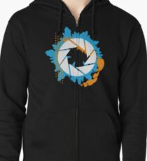 Portal - Abstract Aperture Logo Zipped Hoodie