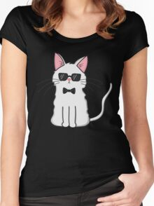 Secret Agent Cat Women's Fitted Scoop T-Shirt
