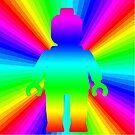 Rainbow Minifig in front of Rainbow  by Customize My Minifig