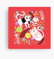 My Little White Cat In Red Canvas Print