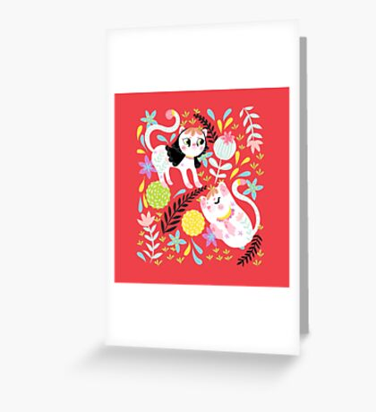 My Little White Cat In Red Greeting Card