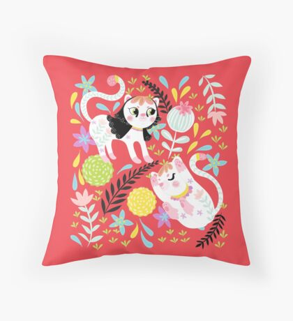 My Little White Cat In Red Throw Pillow