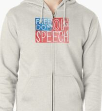 Freedom of Speech - Watercolor Flag Zipped Hoodie