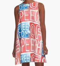 Freedom of Speech - Watercolor Flag A-Line Dress