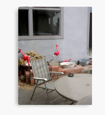 Flamingo Abode Metal Print