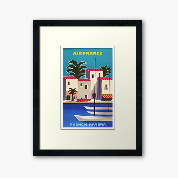 1965 Air France French Riviera Travel Poster Framed Art Print