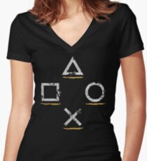 Adventurous Button Icons (Ver. 1) Women's Fitted V-Neck T-Shirt