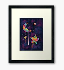 Colorful Moon and Stars Framed Print