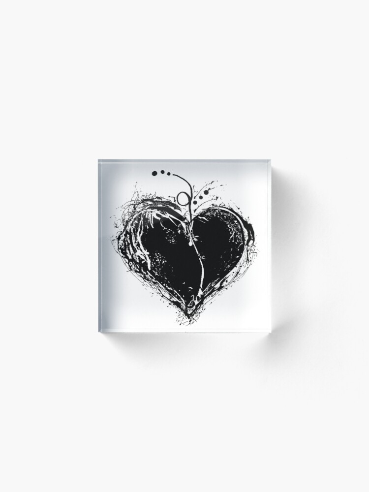 Alternate view of Black Heart Acrylic Block