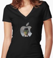 Apple Logo Rene Magritte Women's Fitted V-Neck T-Shirt
