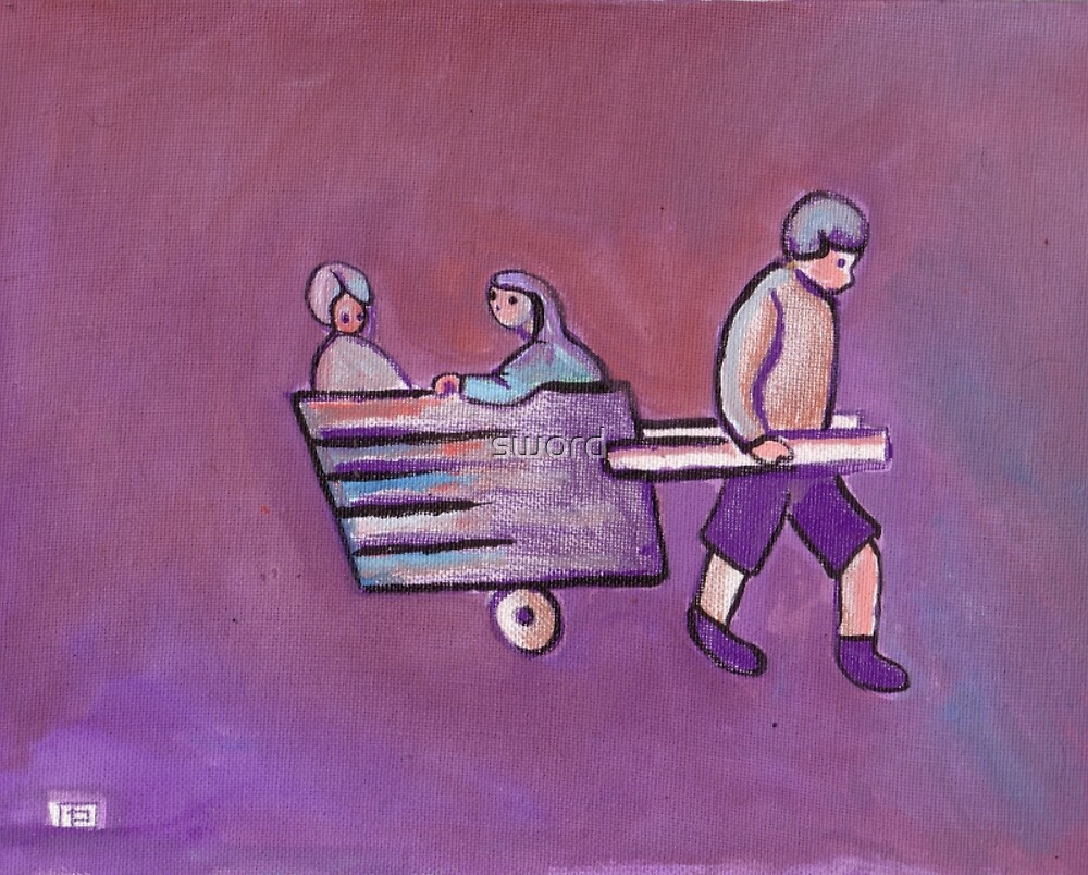 Boy pulling a cart (from my original acrylic painting) by sword