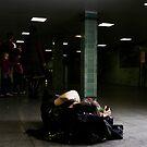 sleeping in a Subwaystation by grayscaleberlin