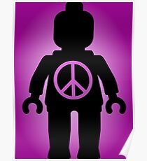 Black Minifig with Peace Symbol, by Customize My Minifig Poster