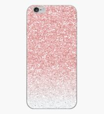 Rose Pink and White Ombre Glitter iPhone Case