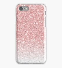 Rose Pink and White Ombre Glitter iPhone Case/Skin