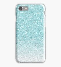Turquoise Blue and White Ombre Glitter iPhone Case/Skin