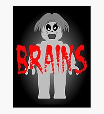 """Zombie Minifig """"BRAINS"""", by Customize My Minifig Photographic Print"""