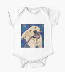 Blond Labrador Smiling with Joy, Chewing a Stick One Piece - Short Sleeve