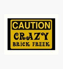 Caution Crazy Brick Freek Sign Art Print