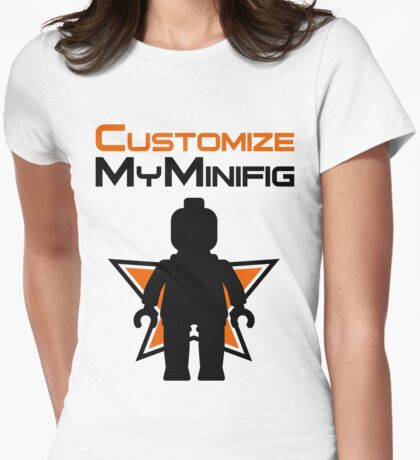 Black Minifig Standing, in front of Customize My Minifig Logo T-Shirt
