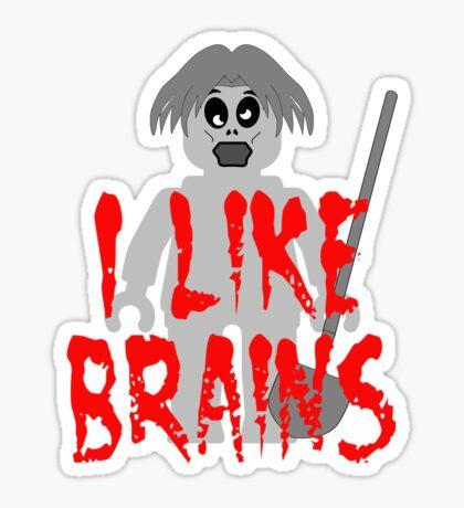 """Zombie Minifig """"I LIKE BRAINS"""", by Customize My Minifig Sticker"""