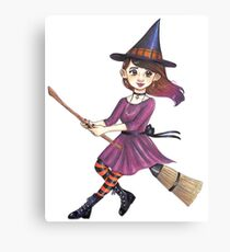 Broomstick witch Canvas Print