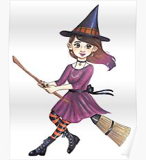 Broomstick witch Poster