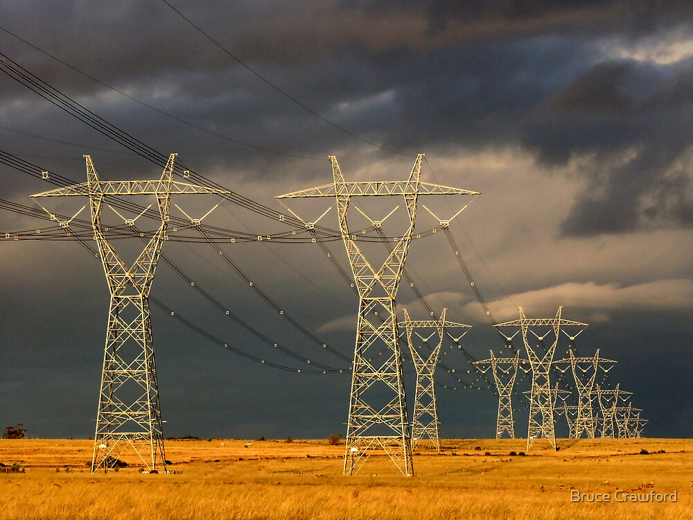 Pylons after the Storm by Bruce Crawford