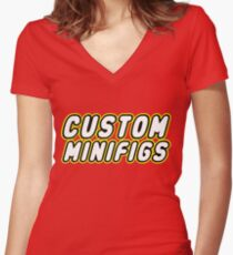 CUSTOM MINIFIGS Women's Fitted V-Neck T-Shirt