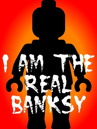 """Black Minifig with """"I am the Real Banksy"""" slogan, Customize My Minifig by Customize My Minifig"""