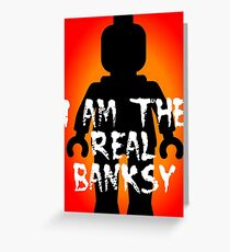 """Black Minifig with """"I am the Real Banksy"""" slogan, Customize My Minifig Greeting Card"""