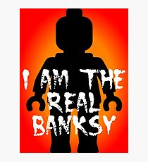 "Black Minifig with ""I am the Real Banksy"" slogan, Customize My Minifig Photographic Print"