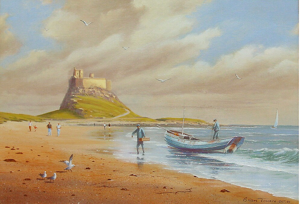 Landing a catch at Lindisfarne by Brian Towers