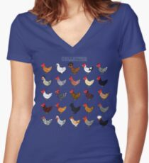 Chicken collector Women's Fitted V-Neck T-Shirt