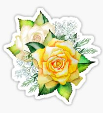 Watercolor yellow roses Sticker