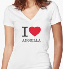 I ♥ ANGUILLA Women's Fitted V-Neck T-Shirt