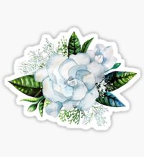 Aquarell Gardenia und Gypsophila Vignette Sticker