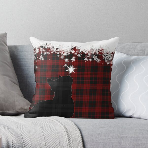 Red and Black Tartan Cat with Snowflakes Throw Pillow