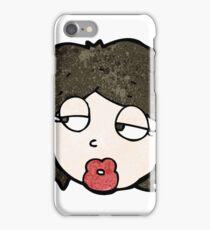 cartoon woman looking bored iPhone Case/Skin