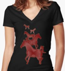 Horse Theme Women's Fitted V-Neck T-Shirt