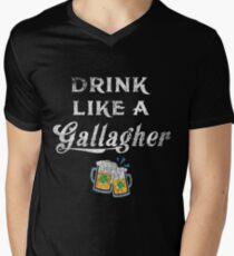 Drink Like A Gallagher, St.  Patricks Day Men's V-Neck T-Shirt