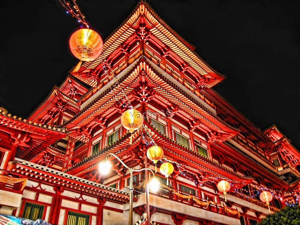 Buddhist Temple in Chinatown, Singapore by vadim19