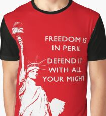 Freedom Is In Peril - Statue of Liberty Graphic T-Shirt