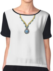Zip collier Turquoise Chiffon Top