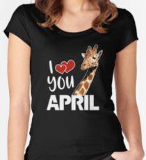 April The Giraffe T Shirt Women's Fitted Scoop T-Shirt