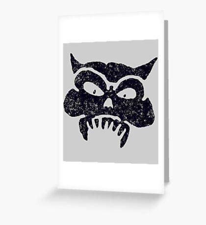 Battered Demon Skull v1 Greeting Card