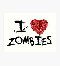 I heart Zombies Art Print