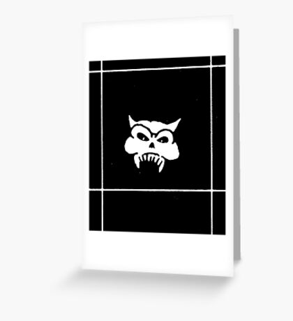 Battered Demon Skull v2 Greeting Card