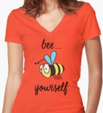 """""""Bee"""" Yourself Black Text Positive Message Women's Fitted V-Neck T-Shirt"""